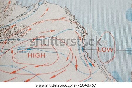 Ocean chart showing high and low barometric pressure zones