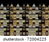 Ocean of houses at night - stock vector