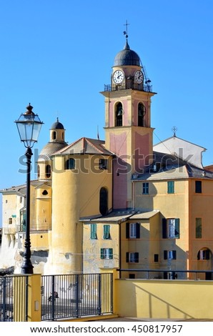 October 29, 2014. Italy, Camogli. Old church in town.