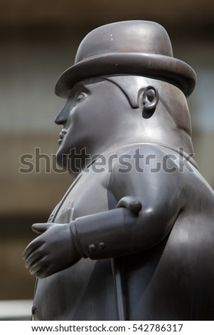 October 16, 2016 Medellin, Colombia: closeup details of one of Botero's surrealist statues publicly displayed in the city center