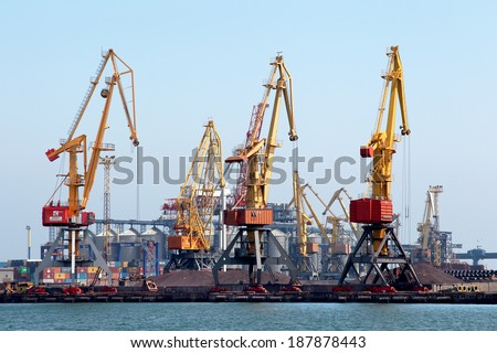 ODESSA, UKRAINE - APRIL 15: maritime cargo ship moored in harbor of Odessa sea port . Loading are carried out works of Ukrainian industrial goods, April 15, 2014 Odessa, Ukraine