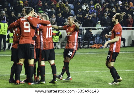 ODESSA, UKRAINE - December 08, 2016: Football players FC Manchester United celebrate a goal scored during the UEFA Europa League match between Zarya Lugansk vs Manchester United, Ukraine