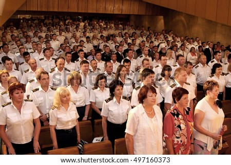 Odessa, Ukraine - June 23, 2010: Military personnel security agencies, police and prosecutor's office in full uniform, in Concert Hall at the official celebration ceremony. The audience at the concert