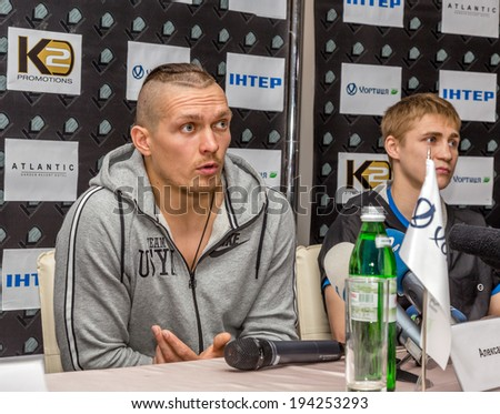 ODESSA, UKRAINE - May 21, 2014: Press conference world boxing champion, Olympic champion Alexander Usyk - Ukraine before fight Cesar David Krens (El Russo) - Argentina May 21, 2014 in Odessa, Ukraine.