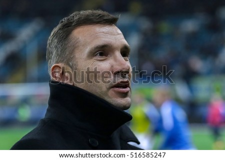 Odessa, Ukraine - 12 November, 2016: Coach of the national team of Ukraine Andriy Shevchenko before the qualifying for the FIFA World Cup match between the national teams of Ukraine against Finland