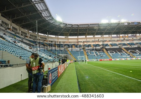 ODESSA, UKRAINE - September 15, 2016: Stadium Chernomorets Odessa broad plan during the UEFA Europa League match group stage Zarya Lugansk vs FENERBAHCE Istanbul, 15 September 2016, Ukraine