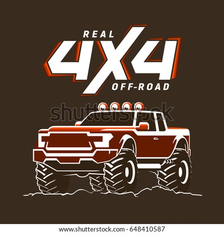 Offroad Monster Truck Pickup Logo Stock Vector