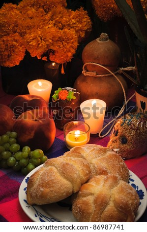 Offering As Part Of The Celebration Of The Day Of The Dead In Mexico Dia