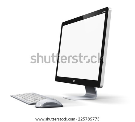 Office business technology communication internet concept: modern professional desktop computer PC workstation with blank screen or empty monitor, keyboard and mouse isolated on white background