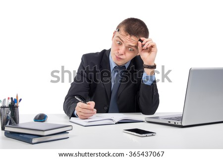 Office, business, technology, finances and internet concept - Surprised businessman with laptop computer and documents at office isolated on white background