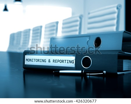 Office Folder with Inscription Monitoring and Reporting on Office Black Table. Monitoring and Reporting - Concept. Monitoring and Reporting - Folder on Black Working Desk. 3D.