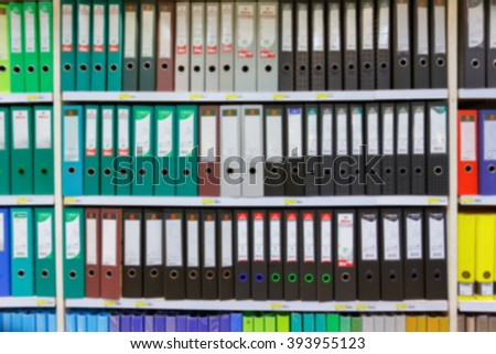 office shelves binder in blurry for background