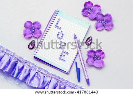 Office Supplies Business Women. Notebook And Pen. Some Office Stuff On A  White Background