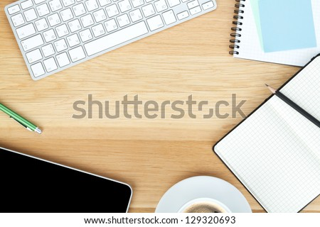 stock photo office supplies gadgets coffee cup wooden table top accessories desktop home desk
