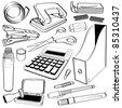 Office Tape Punch Hole Stapler Scissor Calculator Gum Glue Company Stamp Chop Folder Pen Market Clip Doodle Sketch Tool Equipment - stock vector