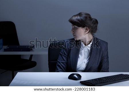 Office worker being alone in the office