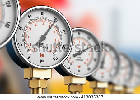 Oil and gas fuel manufacturing industry concept: 3D render illustration of row of metal steel high pressure gauge meters or manometers on tubing pipeline at LNG or LPG distribution station facility