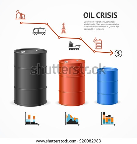 Oil Industry Crisis Graph Concept. Financial Market and Icons. illustration