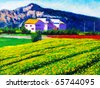 Oil Painting - Countryside - stock photo
