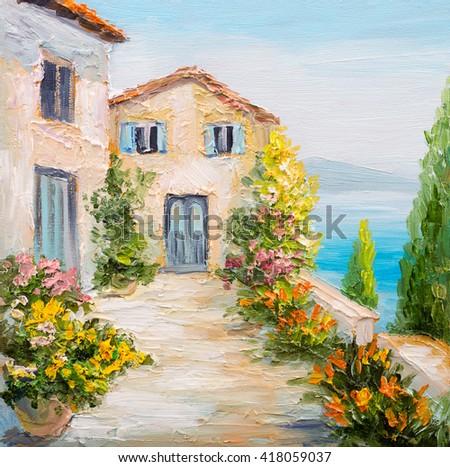 Oil Painting Santorini House Near Sea Stock Illustration 203158396 Shutterstock