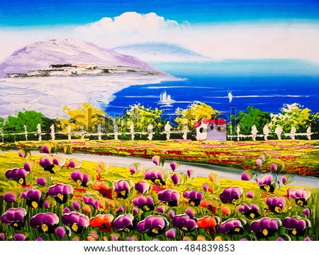 Oil Painting - Seacoast with blossoming  flowers