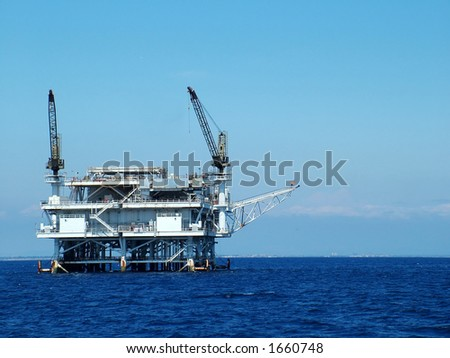 Oil Platform off California coast, up close