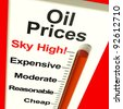 Oil Prices High Monitor Showing Expensive Fuel Cost - stock photo