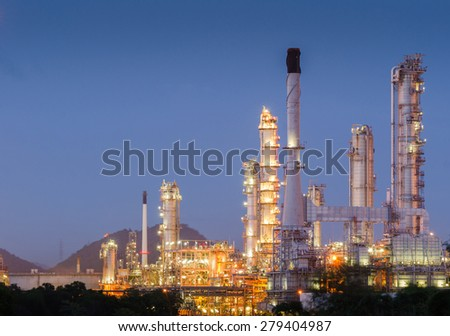 Oil refinery clean energy at twilight
