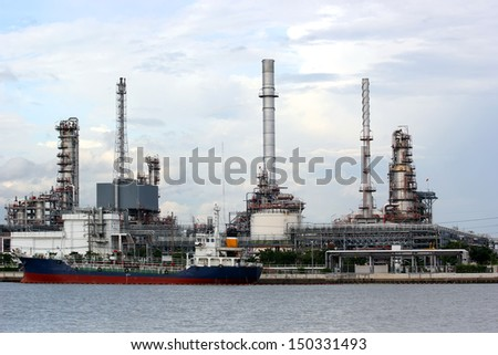 Oil refinery with beautiful sky