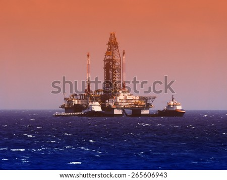 oil rig in gulf of mexico, dramatic skies