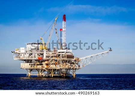 Oil Rig in the channel island near Ventura California.