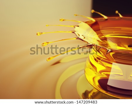 Oil splash and ripples. Artistic shallow DOF
