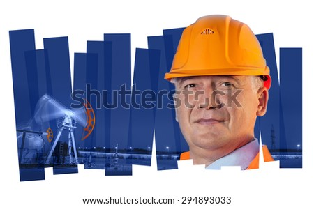 Oil worker in orange uniform and helmet on of collage background the pump jack.