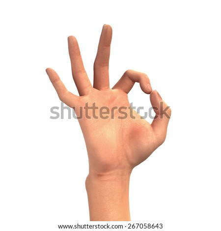 OK sign, hand gesture isolated on white background