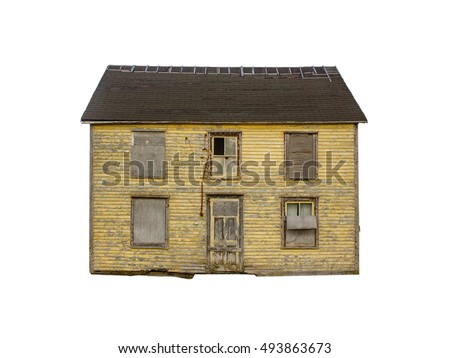 Old abandoned house - isolated on white