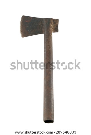 Old and dirty axe on white background.