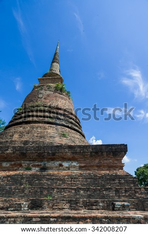 Old and ruin building in Sukhothai Historical Park, Sukhothai, Thailand