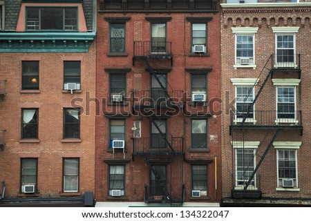 Old Apartment Buildings Fire Escapes New Stock Photo 134322047 Shutterstock