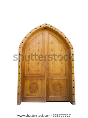 Old Arab wooden door on a wight background