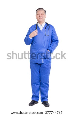 old asian man surgery doctor in blue uniform poses at camera