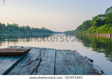Old blue wood floor texture outdoor with around the river natural mini cruise trip