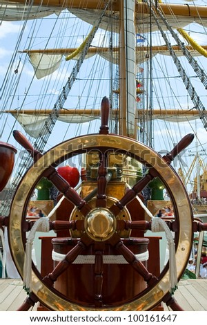 Wheel Helm On Old Ship Stock Photo 207049057 Shutterstock
