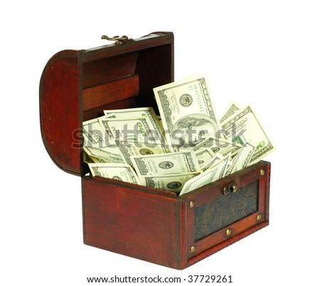 old  box with money inside on white