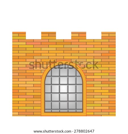 Old Brick Castle Isolated on White Background