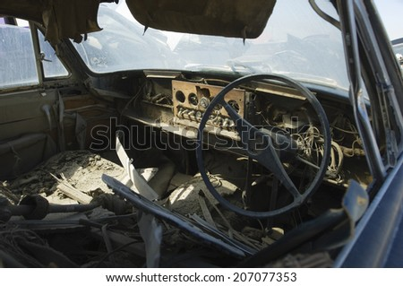 Old broken car interior