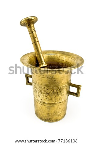Old bronze mortar with pestle isolated on white