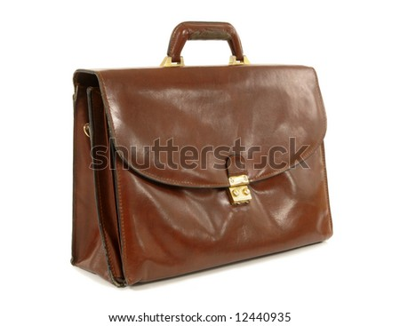 Old brown leather briefcase isolated on white background, side angle view