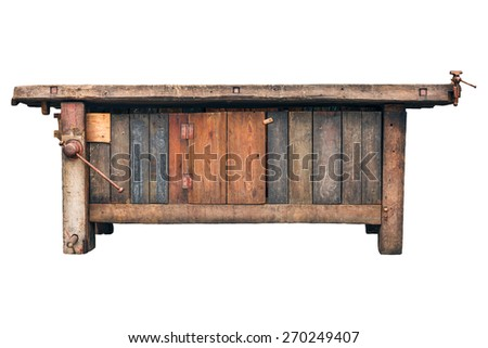 Old carpenter wooden work bench isolated on a white background
