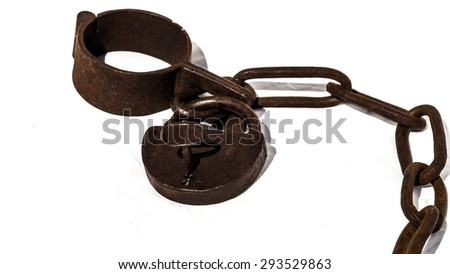 Old chains or shackles with padlock used for locking up prisoners or slaves between 1600 and 1800.