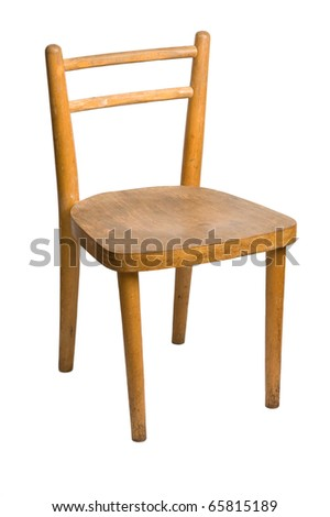 Old children's wooden chair on a white background